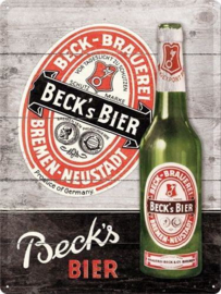 Beck's Bier Bottle Metalen wandbord in reliëf 30 x 40 cm.