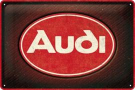 Audi - Logo Red Shine. Metalen wandbord in reliëf 20 x 30 cm.
