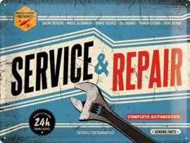 Service & Repair Metalen wandbord in reliëf 30x40 cm