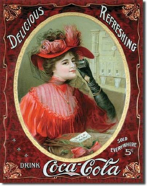 Coca-Cola Victorian Lady Metalen wandbord 31,5 x 40,5 cm.