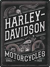 Harley-Davidson - Motorcycles .Metalen wandbord in reliëf 30 x 40 cm.
