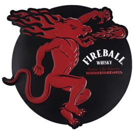 Fireball Whisky . Metalen wandbord in reliëf  40 x 40 cm.