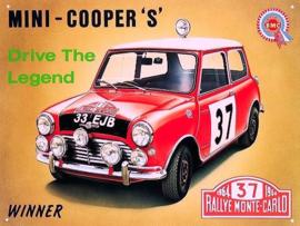 Mini Cooper Metalen wandbord 40 x 30 cm.