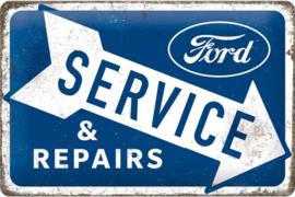 Ford - Service & Repairs. Metalen wandbord in reliëf 20 x 30 cm.