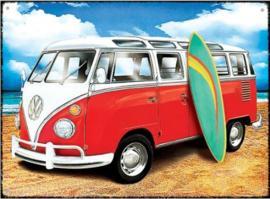 VW Samba T1 Surf Metalen wandbord 30 x 40 cm.