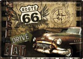 Route 66 Drive Eat Metalen Postcard 10 x 14 cm.