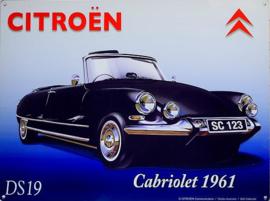 Citroën Cabriolet DS19 1961 Metalen wandbord 30 x 40 cm