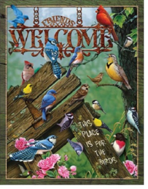 Welcome - Place for the Birds.   Metalen wandbord 31,5 x 40,5 cm.