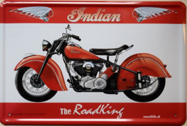 Indian The Road King.  Metalen wandbord in reliëf 20 x 30 cm.