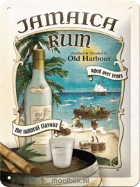 Jamaica Rum  Metalen wandbordin reliëf15 x 20 cm