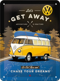 VW Bulli - Let's Get Away Night Metalen wandbord in reliëf 15 x 20 cm.