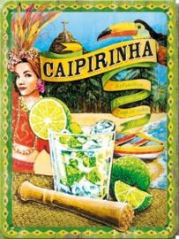 Caipirinha Metalen wandbord in reliëf 15 x 20 cm.