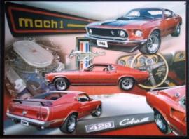 Ford Mustang Mach 1 Metalen wandbord 30 x 38 cm.