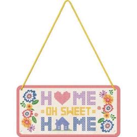 Home Sweet Home Metalen wandbord 10 x 20 cm.