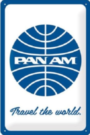 Pan Am - Travel the world Metalen wandbord in reliëf 20 x 30 cm.