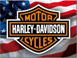 Harley Davidson USA Logo. Koelkastmagneet 8 cm x 6 cm.