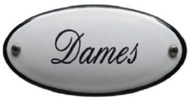 Dames Emaille bordje 10 x 5 cm.
