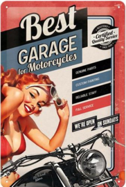 Best Garage For Motorcycles  Metalen wandbord in relief 20 x 30 cm