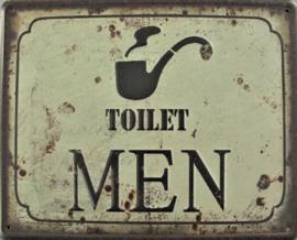 Toilet Men..  Metalen wandbord 20 x 25 cm.