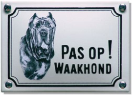 Pas op Waakhond Mastif Emaille bordje 14 x 10 cm.