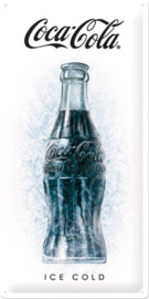 Coca Cola Ice Cold.  Metalen wandbord in reliëf 25 x 50 cm.