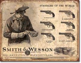 Smith & Wesson Revolver Manufacturer .  Metalen wandbord 31,5 x 40,5 cm.