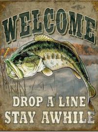 Welcome Drop a Line Metalen wandbord 31,5 x 40,5 cm.