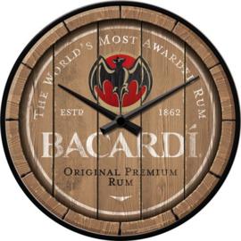 Bacardi - Wood Barrel Logo. Wandklok 31 cm