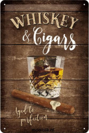 Whiskey & Cigars Metalen wandbord in reliëf 20 x 30 cm