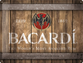 Bacardi - Wood Barrel Logo. Metalen wandbord in reliëf 30 x 40 cm.