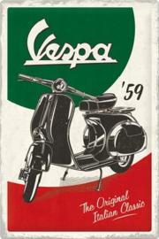 Vespa - The Italian Classic. Metalen wandbord in reliëf 40 x 60 cm.