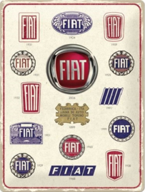 Fiat - Logo Evolution.  Metalen wandbord in reliëf 30 x 40 cm