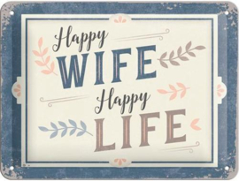 Happy Wife Metalen wandbord in reliëf 15 x 20 cm.