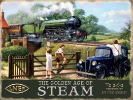 L.N.E.R The Golden Age Of Steam .Metalen wandbord 30 x 40 cm.