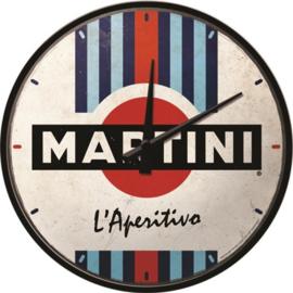 Martini - L'Aperitivo Racing Stripes. Wandklok Ø 31 cm en 6 cm dik.