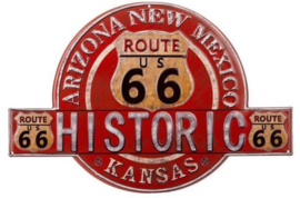 Historic Route 66.Metalen wandbord in reliëf  34 x 50 cm.