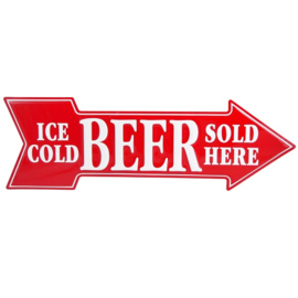 Ice Cold Beer Sold Here.  Aluminium Arrow Sign 69 x 21 cm.