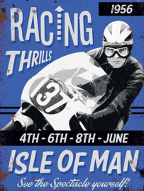 Isle Of Man. Racing Thrills .  Metalen wandbord 30 x 40 cm.