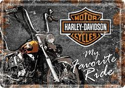 Harley Davidson My Favorite Ride  Metalen Postcard 10 x 14 cm.
