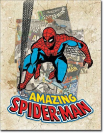 The Amazing Spider Man .  Metalen wandbord 31,5 x 40,5 cm.