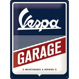 Vespa Garage  Metalen wandbord in reliëf 30 x 40 cm.