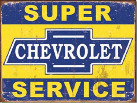 Super Chevy Service  Metalen wandbord 31,5 x 40,5 cm.