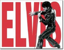 Elvis Leather Metalen wandbord 31,5 x 40,5 cm.