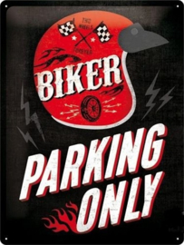 Biker Parking Only  Metalen wandbord in reliëf 30 x 40 cm