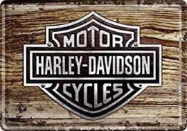Harley Davidson Motor Cycles Metalen Postcard 10 x 14 cm.