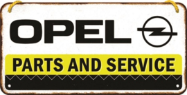 Opel Parts & Service.  Metalen wandbordje in reliëf 10 x 20 cm.