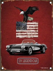 US Legend Car.  Metalen Wandbord in reliëf 15 x 20 cm.