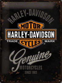 Harley Davidson Genuine Metalen wandbord in relief 40 x 30 cm