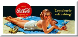 Coca Cola Completely refreshing. Metalen wandbord 22 x 45 cm.