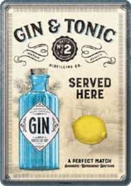Gin & Tonic Served Here. Metalen Postcard 10 x 14 cm.